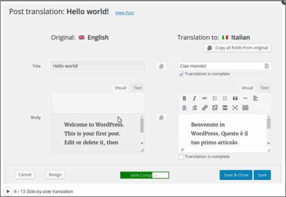 Traduzione web con WPML